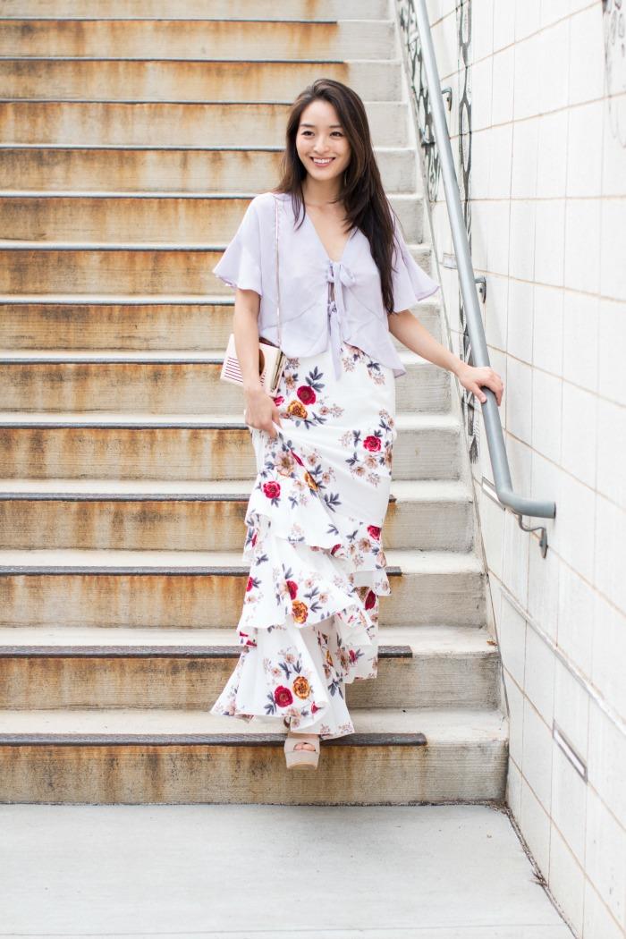 asos floral maxi skirt