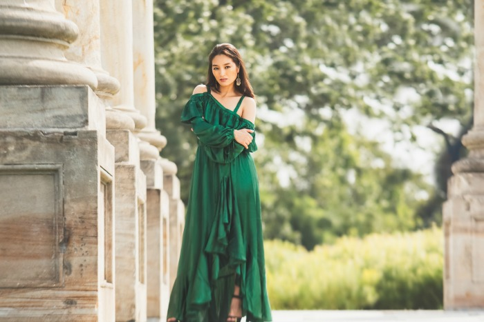 asos green gown