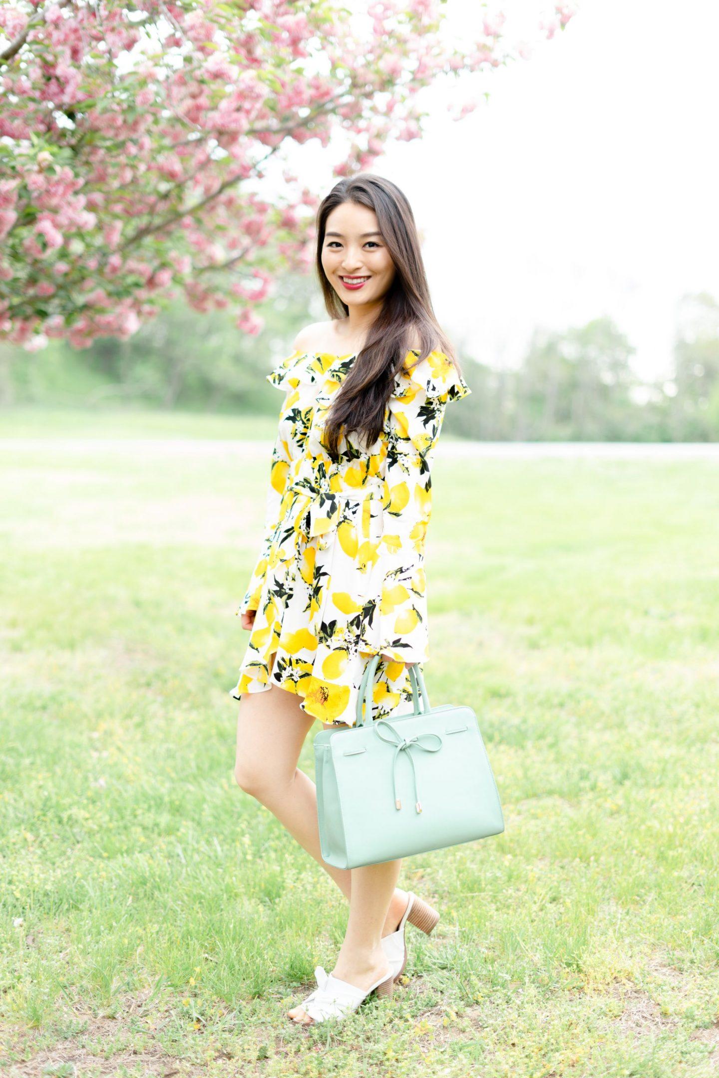 Lemon Print Dress on korean blogger
