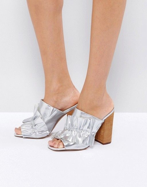 stylish silver mules on asos