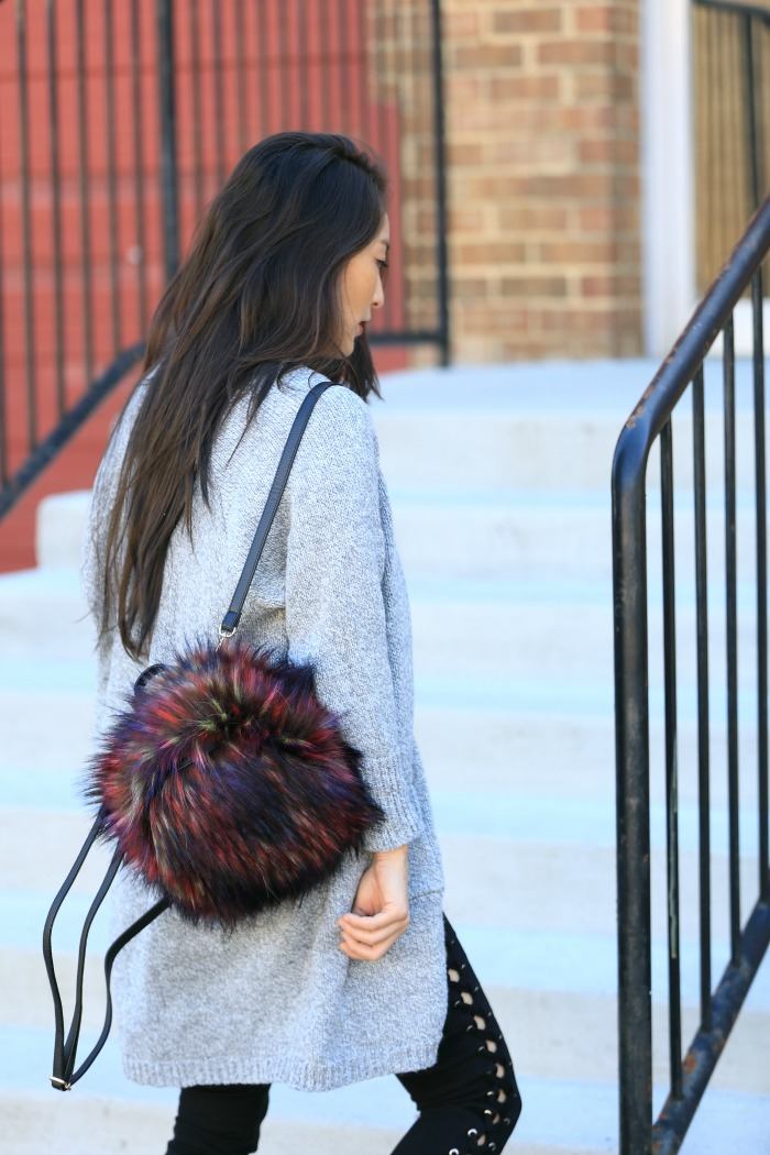 cute faux fur backpacks