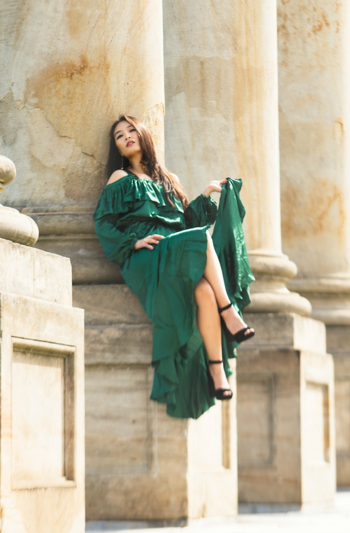 satin green gown asos