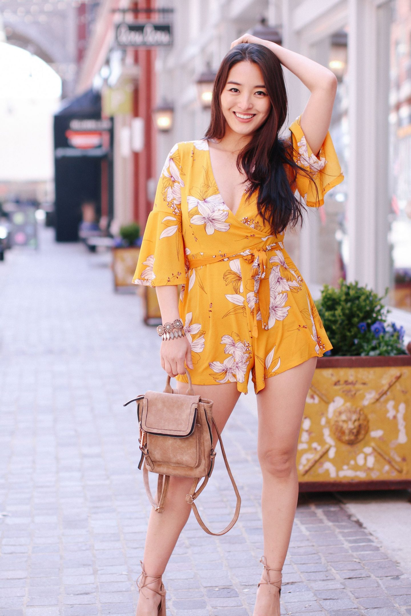 chicwish playsuit - Mustard Playsuit - How to Style a Floral Romper featured by popular California fashion blogger, Lizzie In Lace