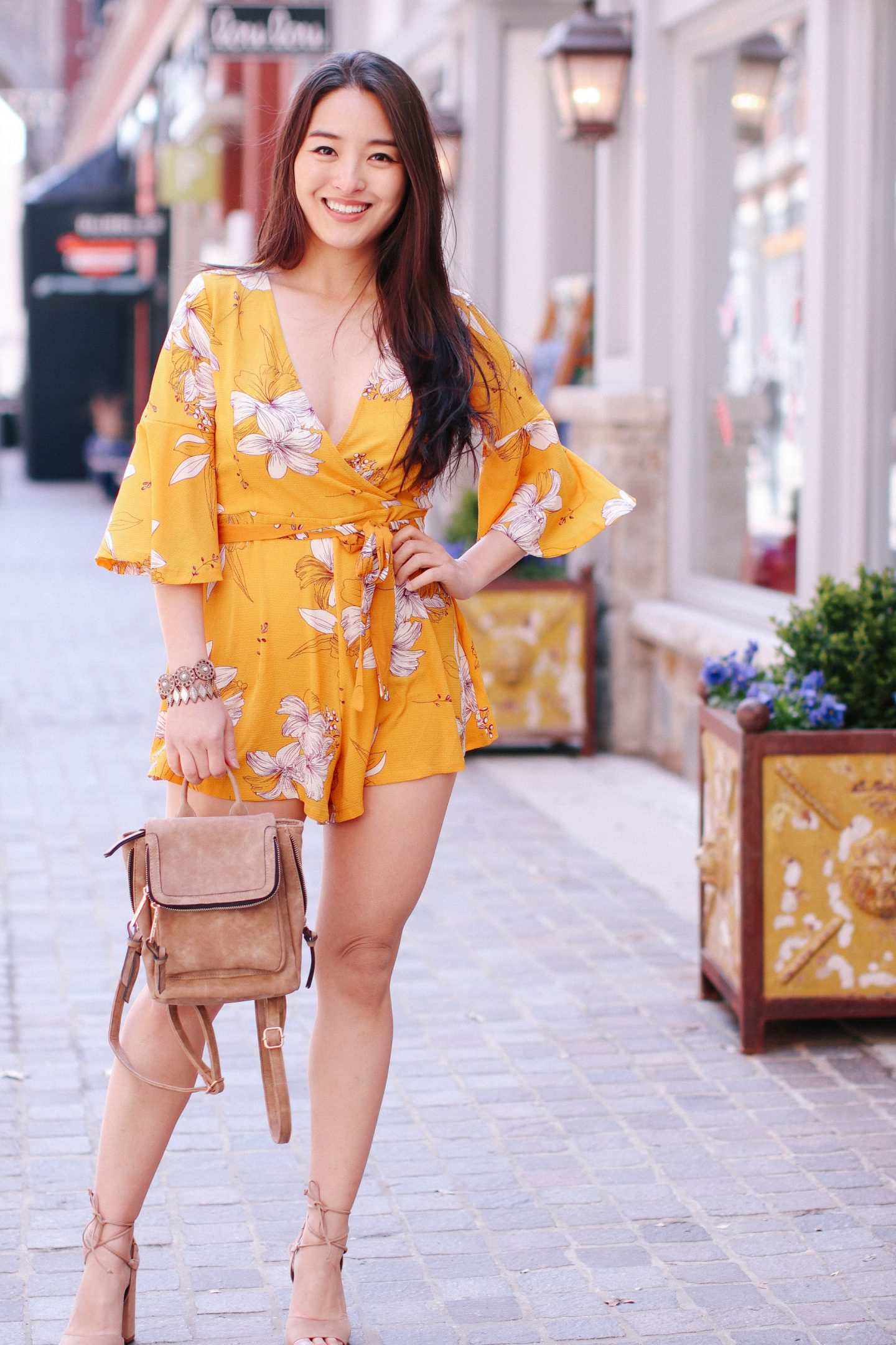 Mustard Playsuit - Mustard Playsuit - How to Style a Floral Romper featured by popular California fashion blogger, Lizzie In Lace