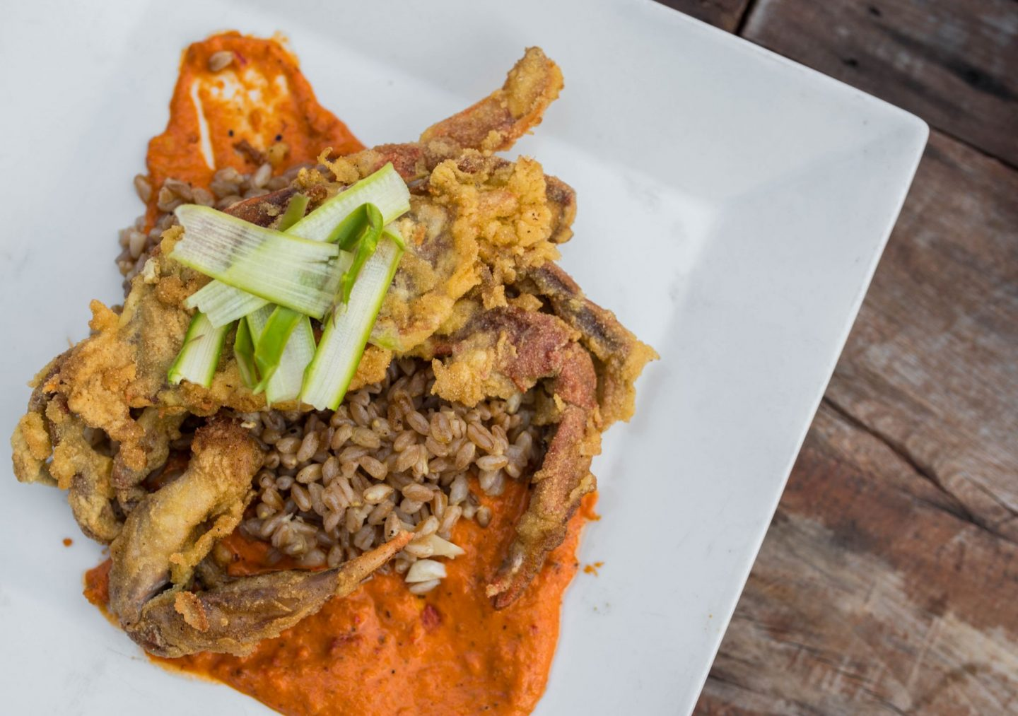 soft shell crab with farro