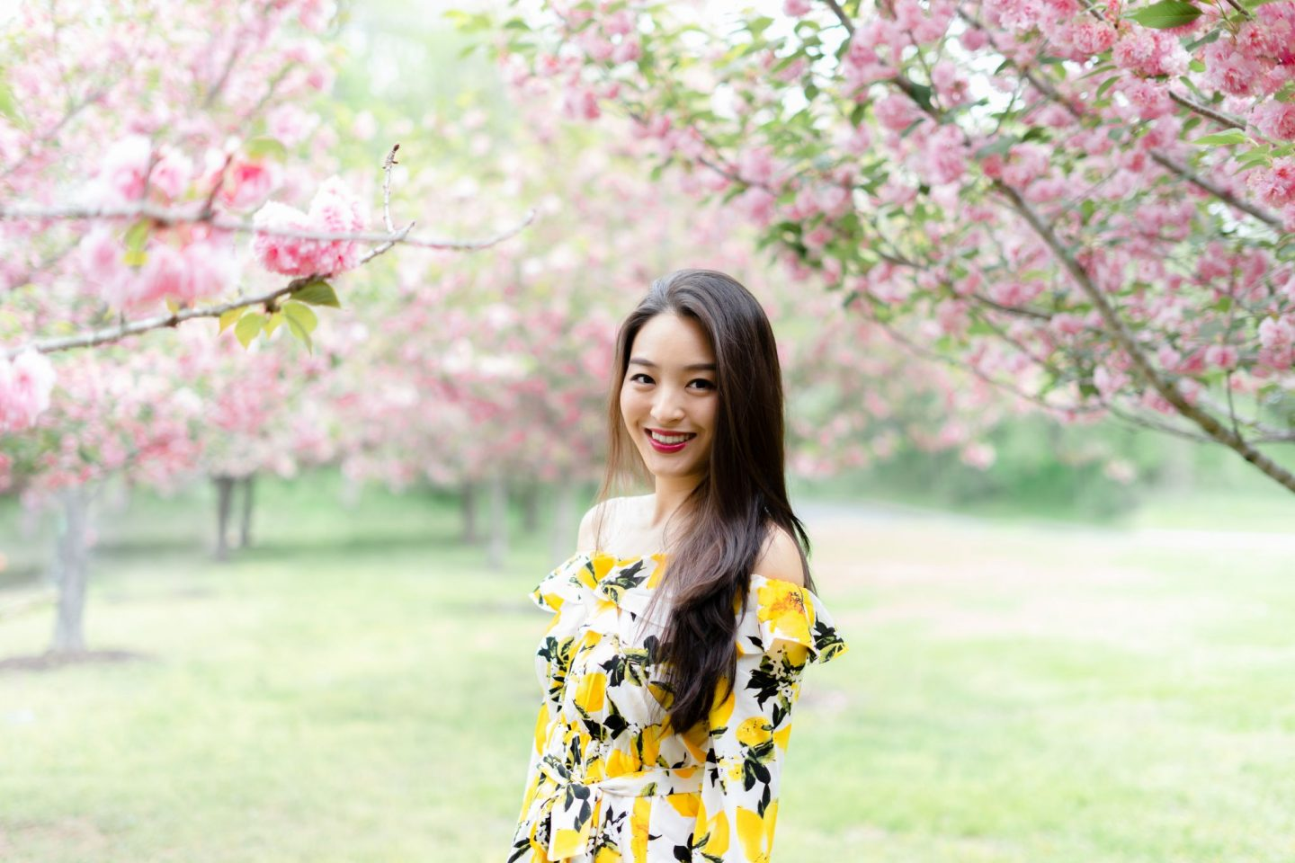 Lemon Print Dress on asian blogger
