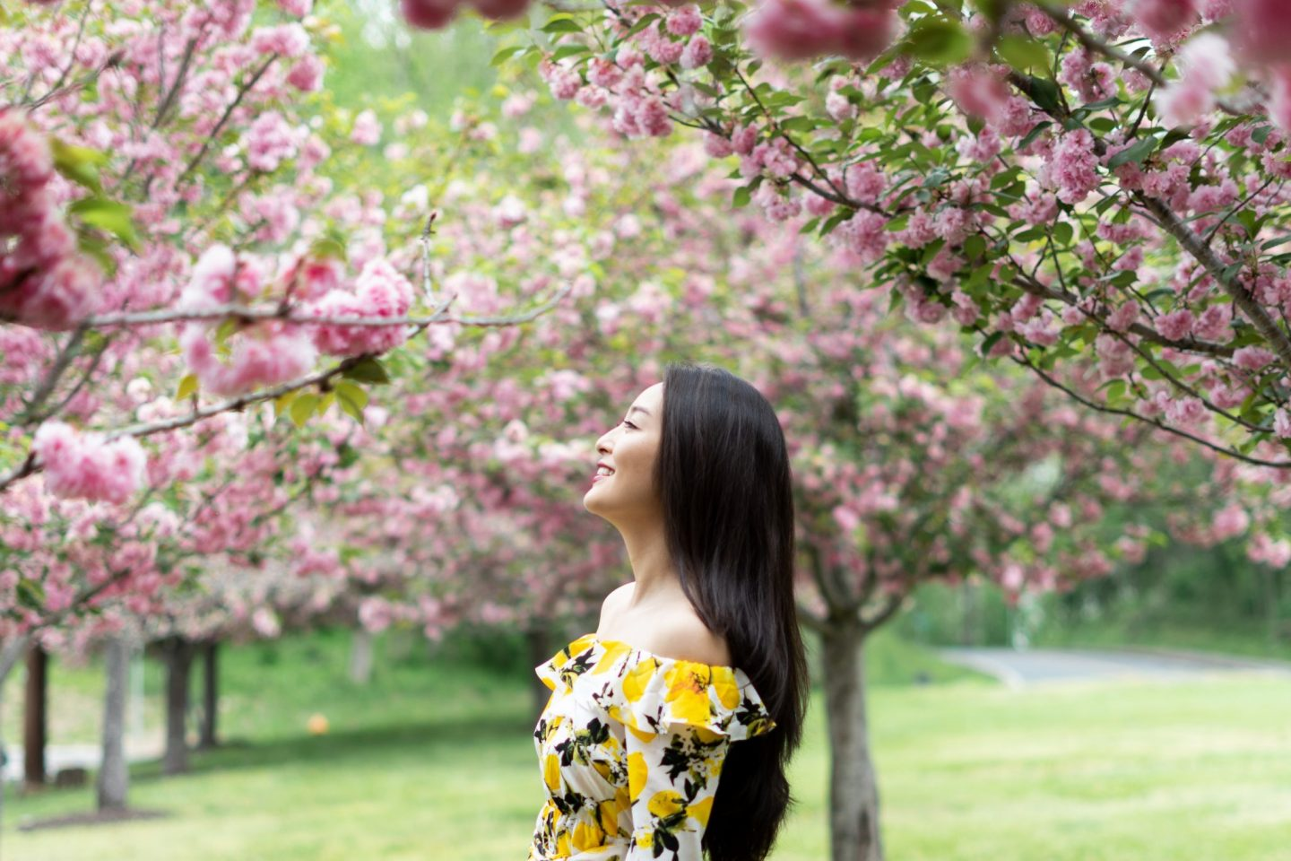 korean fashion blogger models Lemon Print Dress
