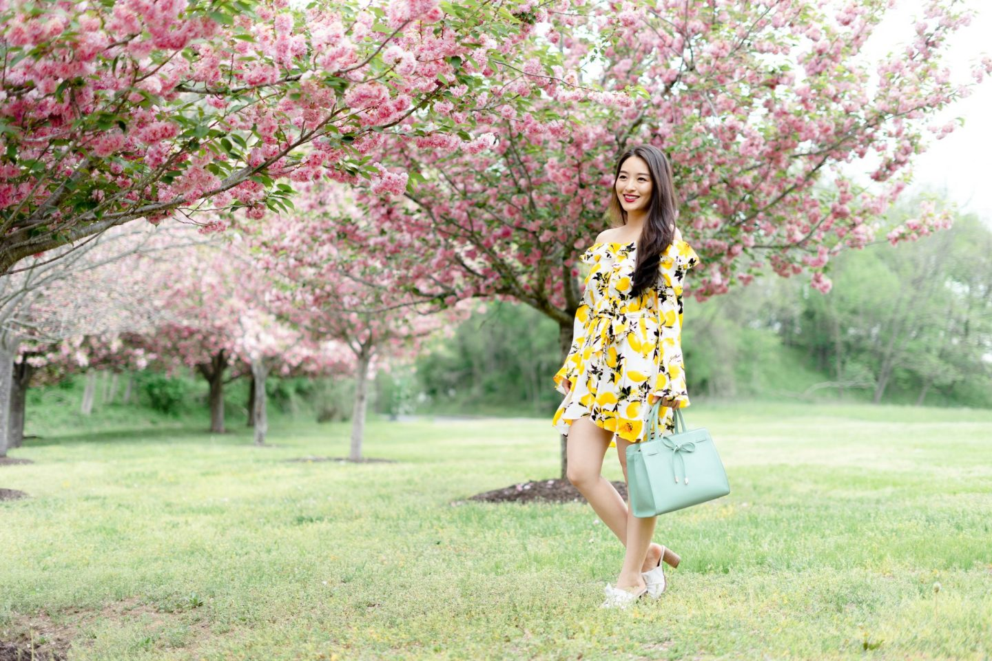 Lemon Print Dress on korean model