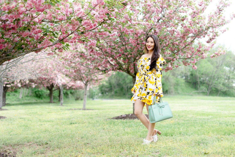 Lemon Print Dress on korean model
