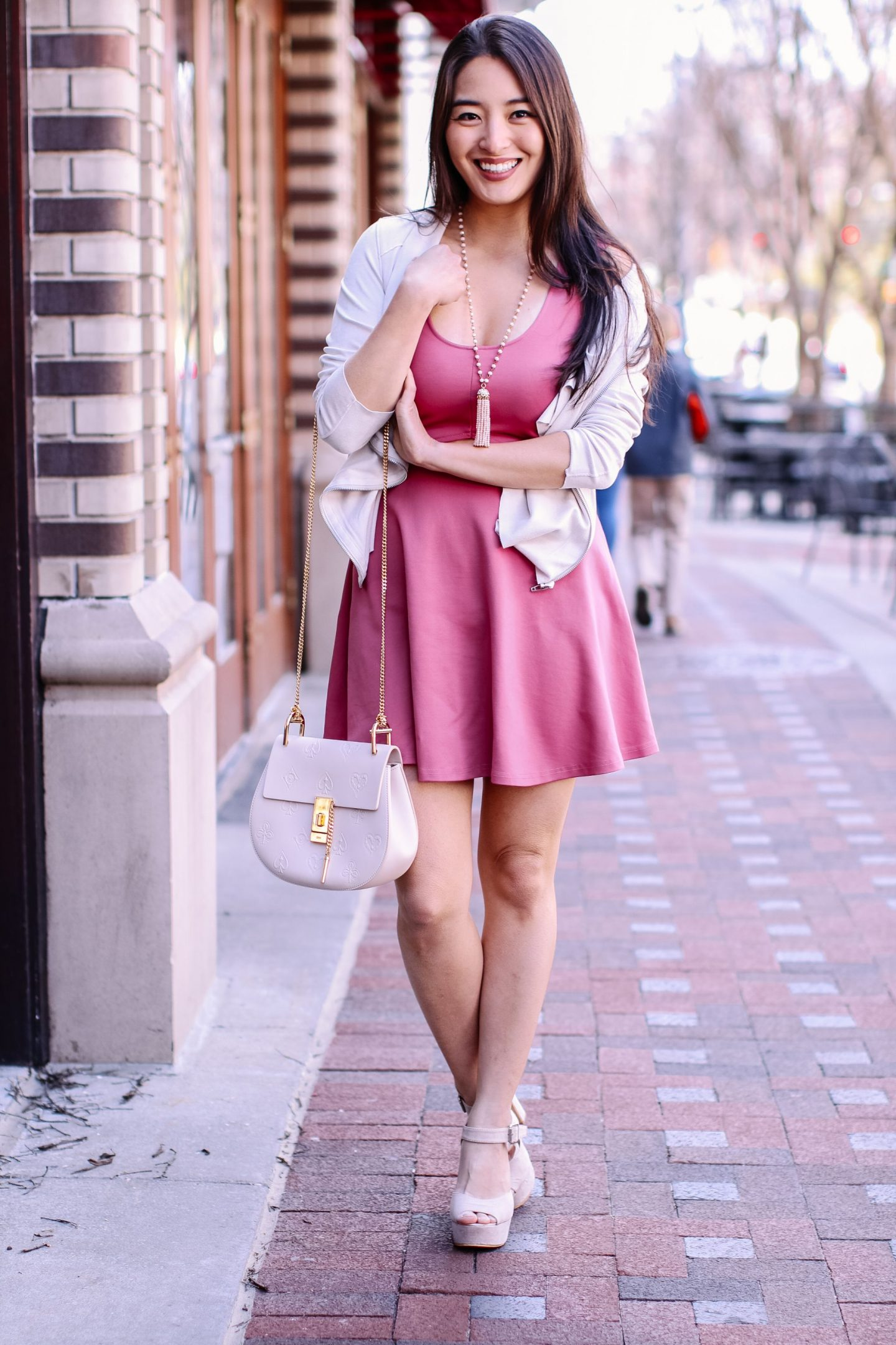 asian girl wears pink dress