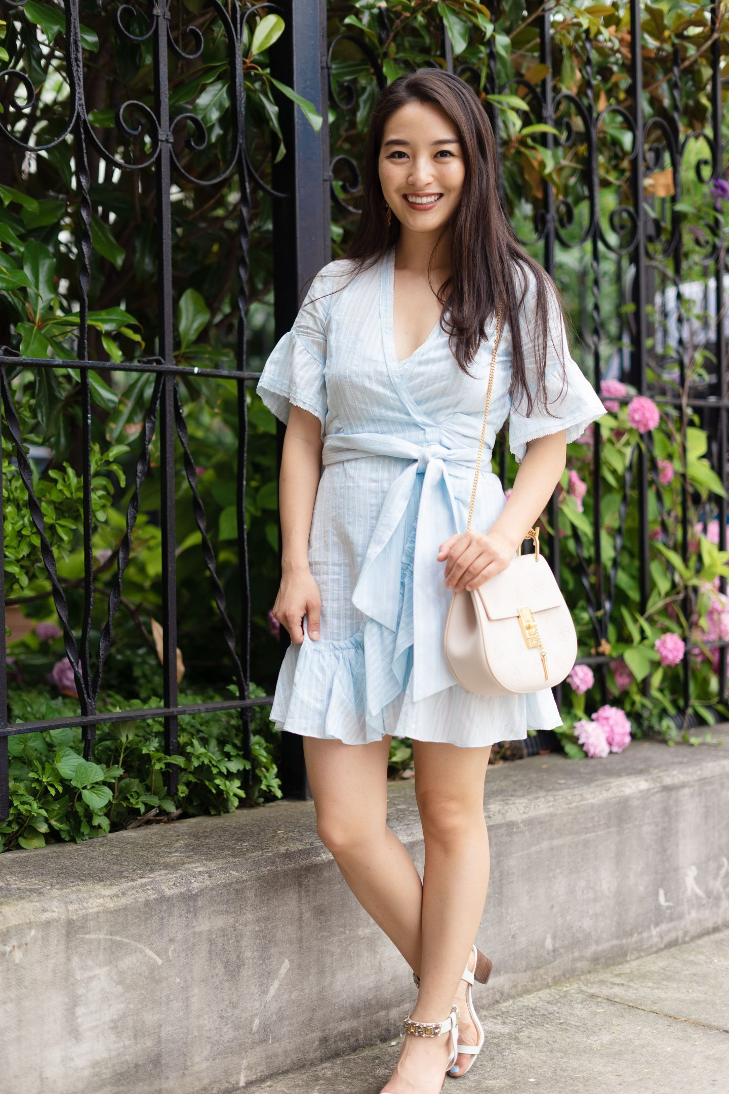 blue dress on fashion blogger