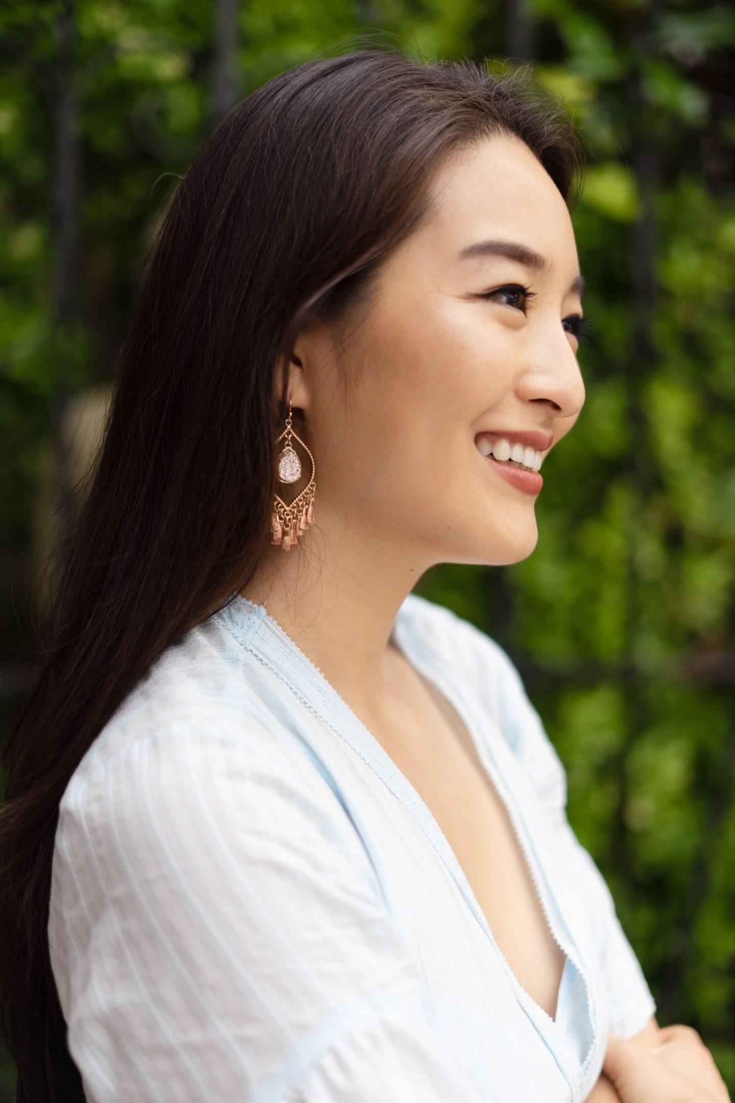 fringe earrings on asian blogger