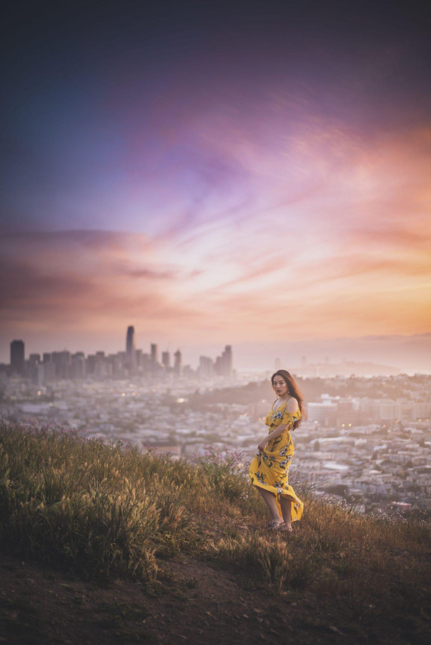 korean blogger wearing yellow dress
