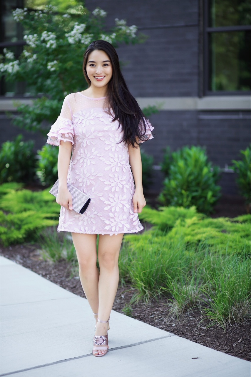 korean fashion blogger wears embroidered dress