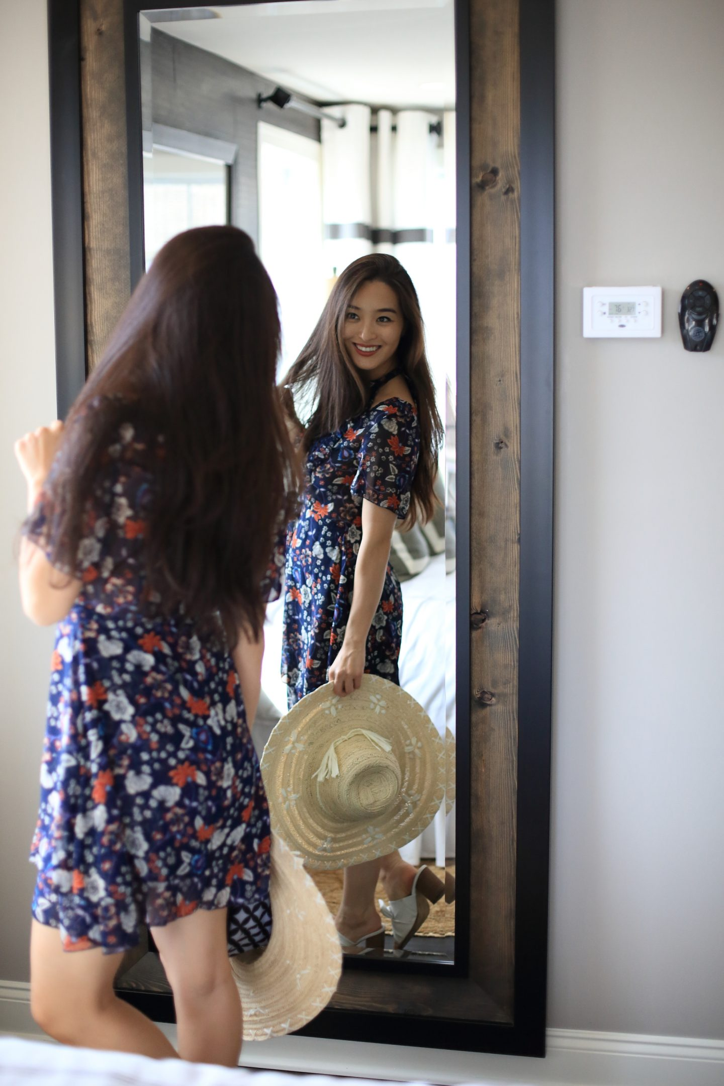 asian blogger in printed asos dress