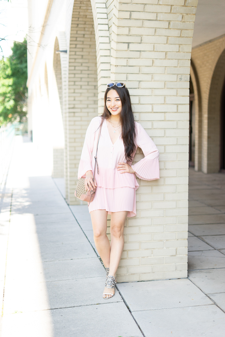 asian fashion blogger pleated dress