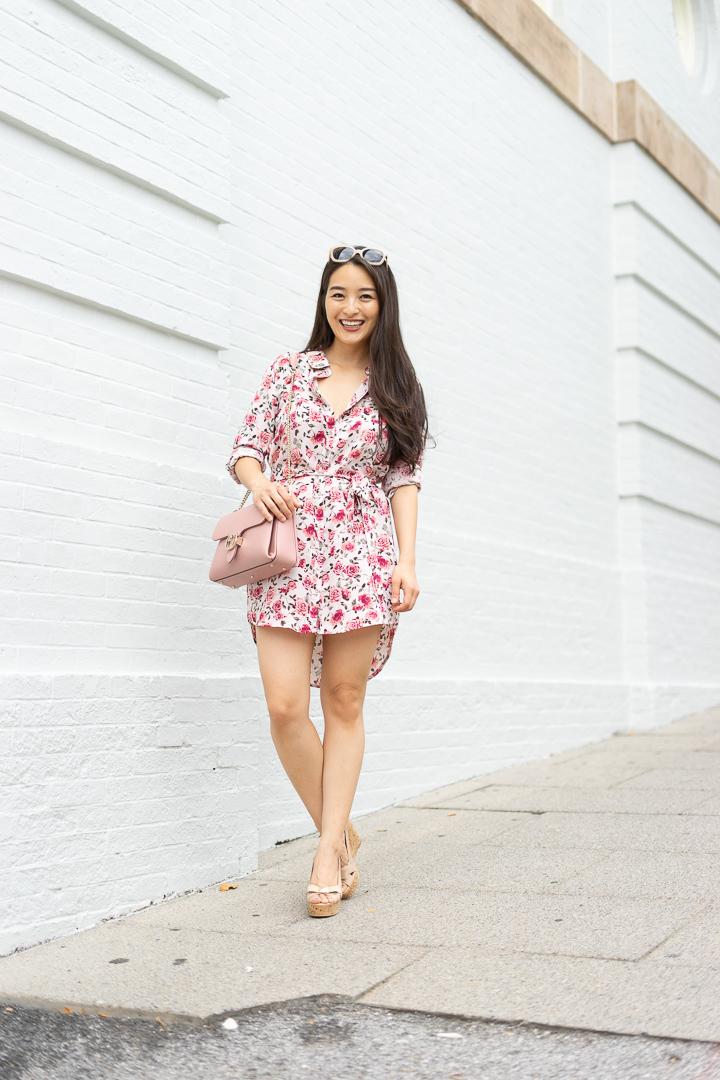 floral shirt dress pink