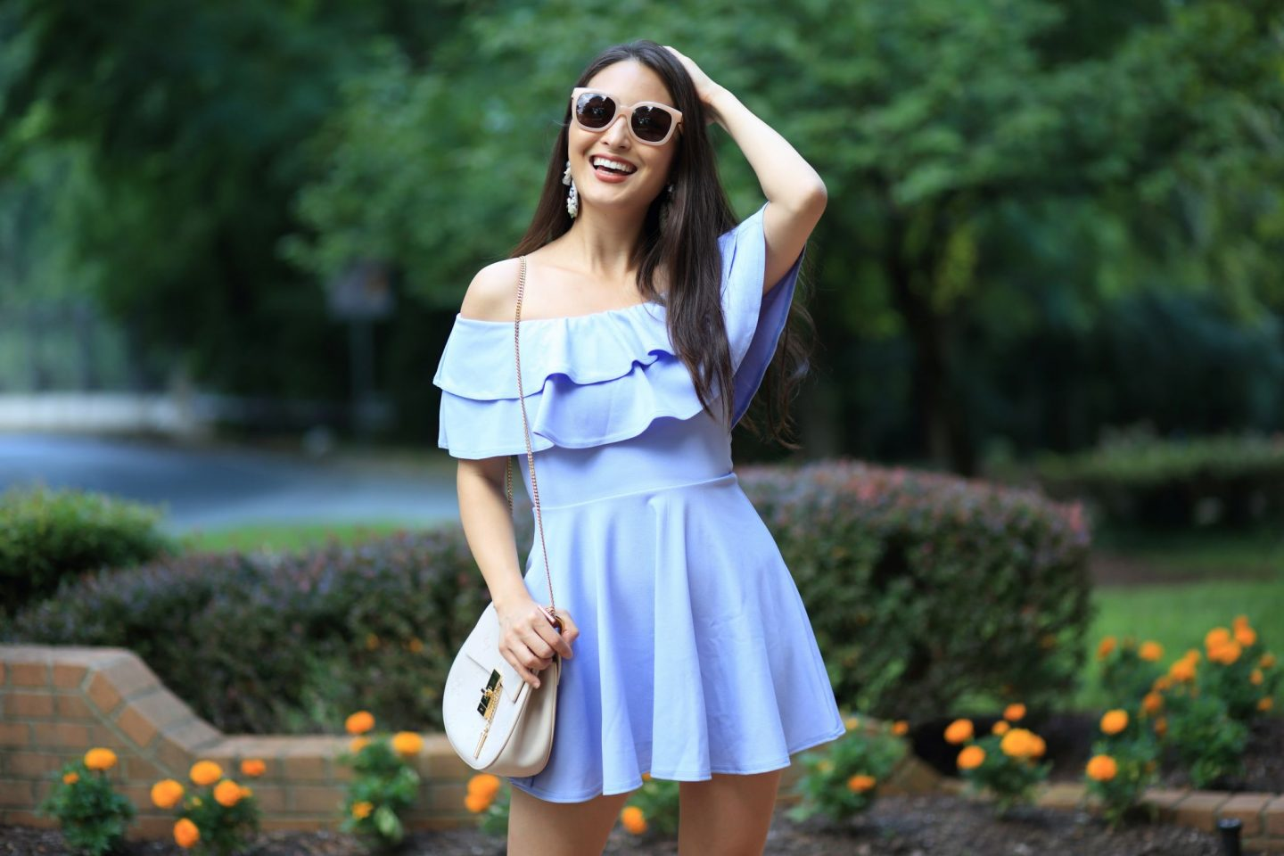 fashion blogger in asos dress