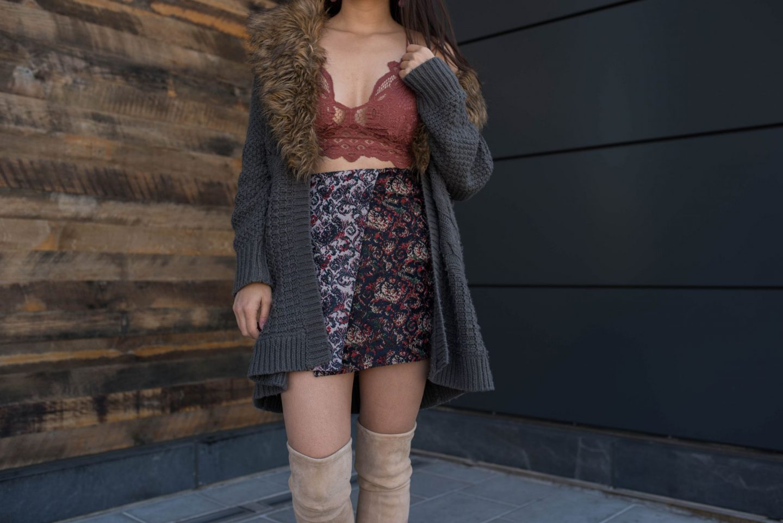 free people jacquard mini skirt