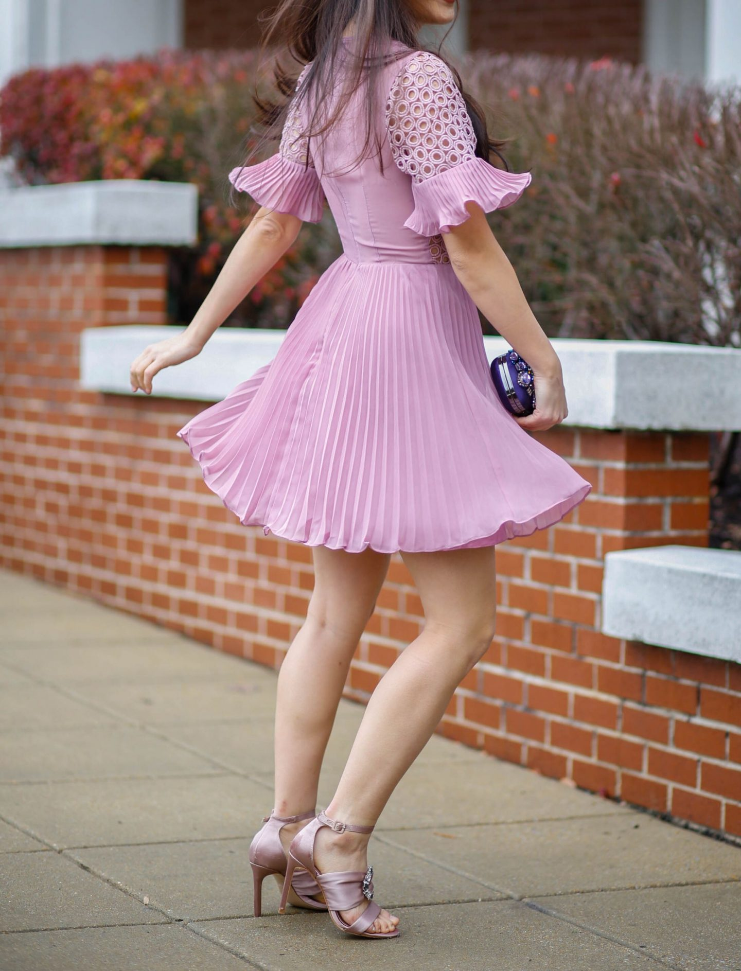 ruffled purple dress