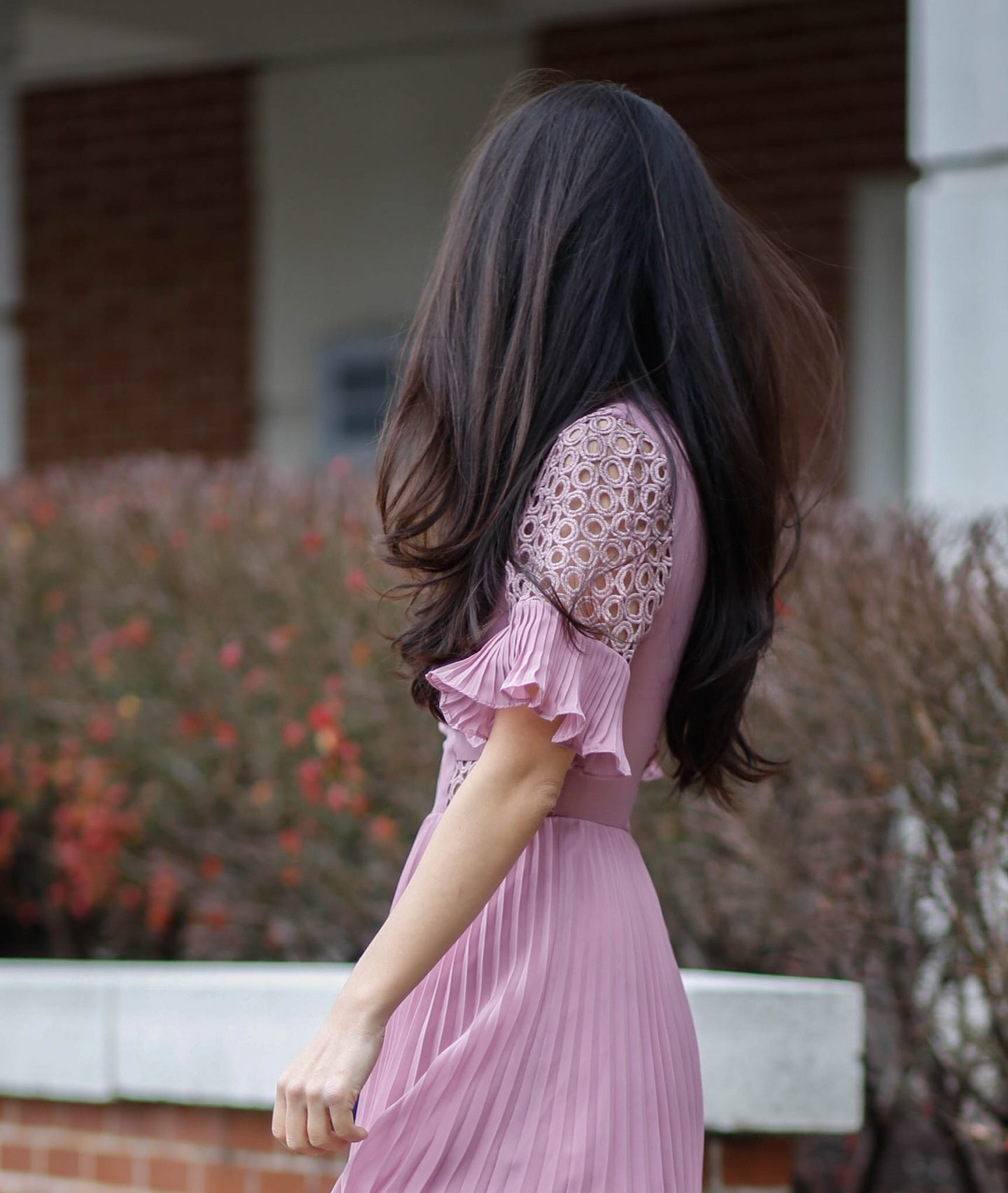 pleated holiday dress