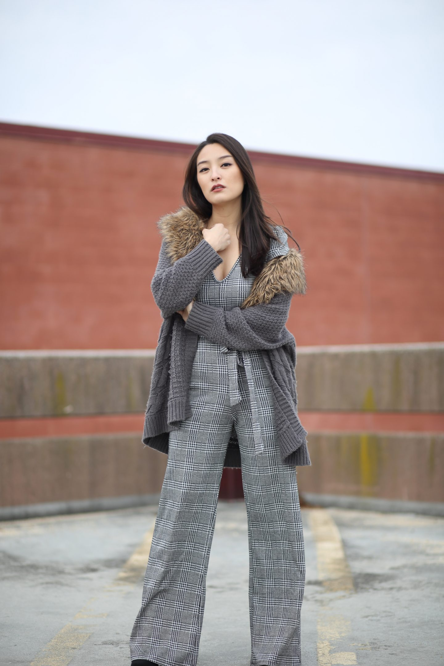 asian blogger in jumpsuit