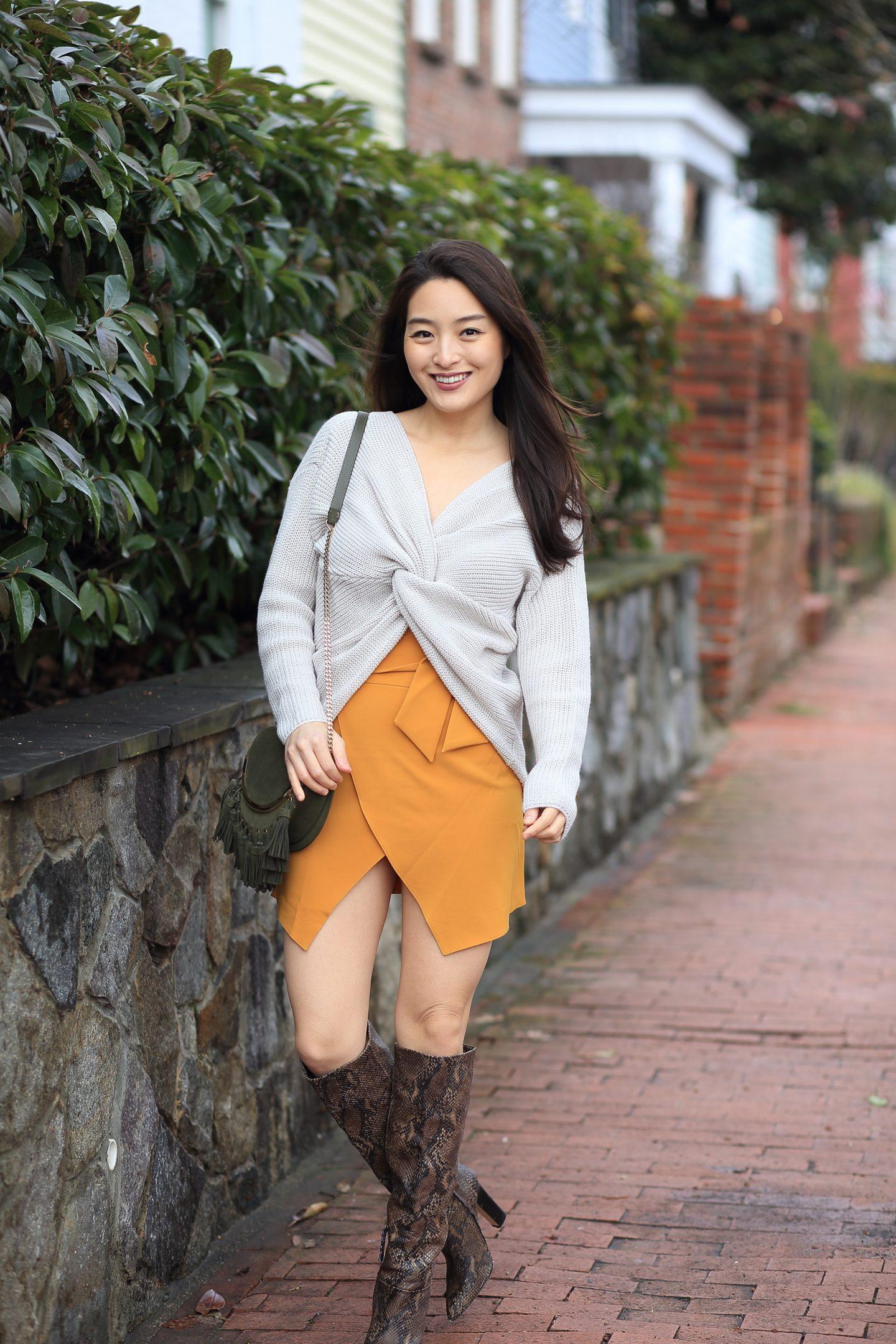 mustard miniskirt