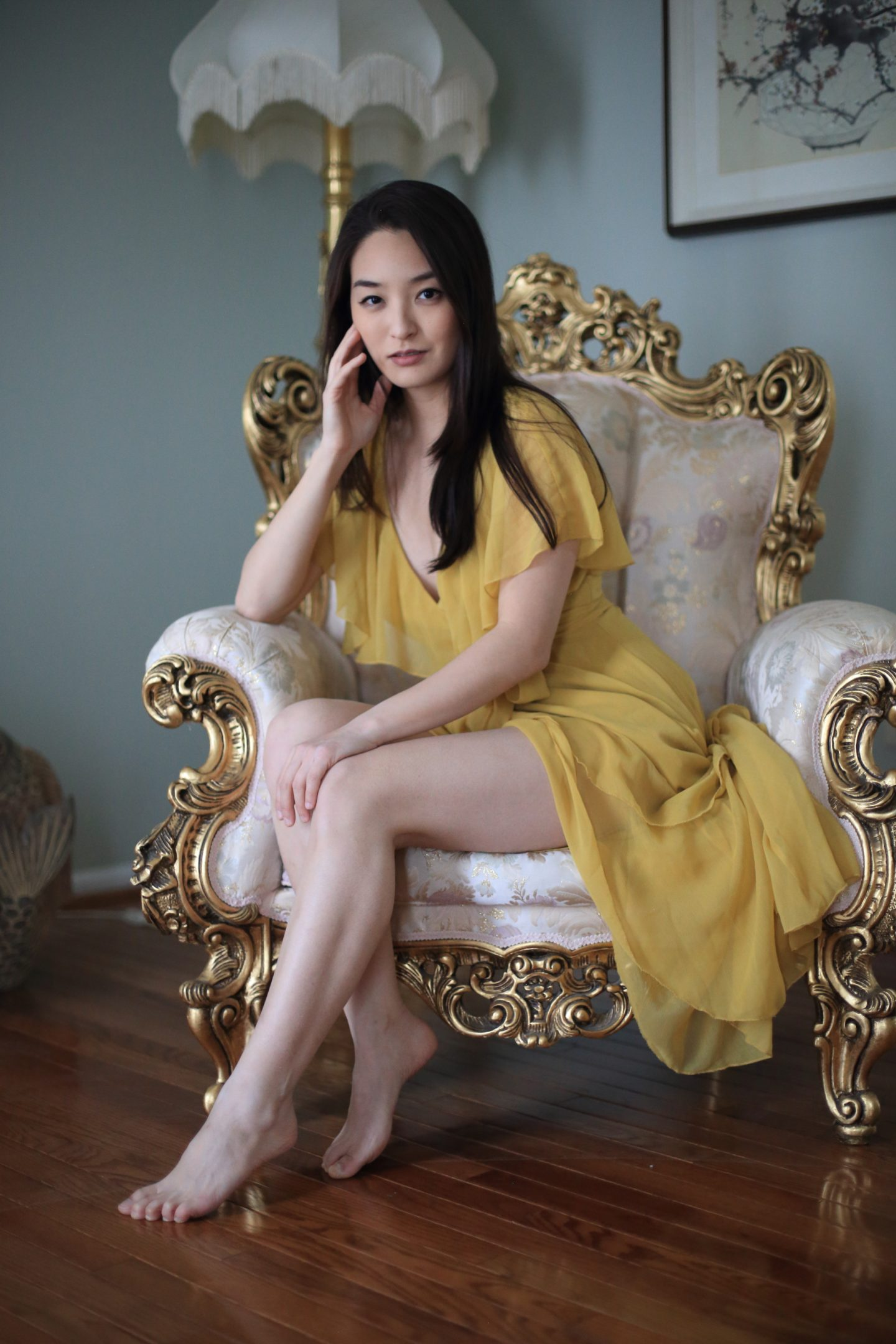 asian yellow dress