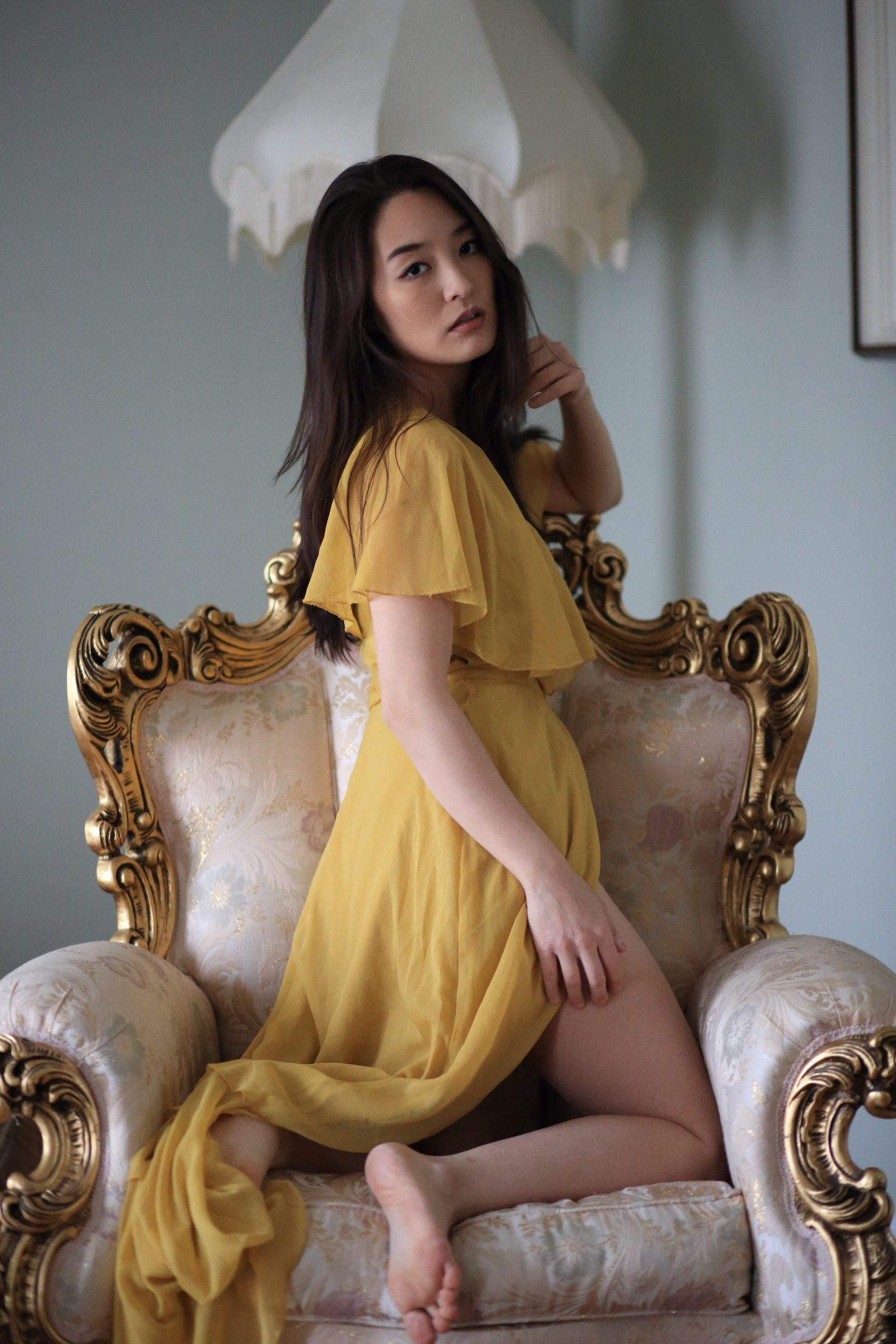 korean modeling yellow gown