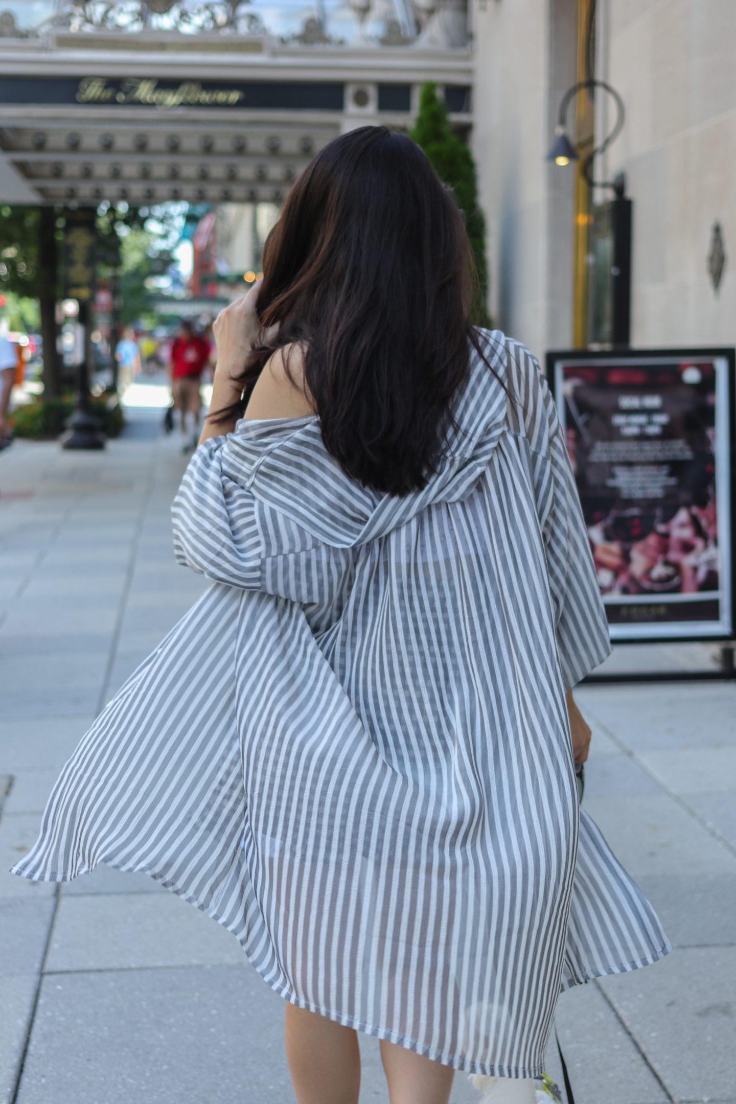 gray striped top