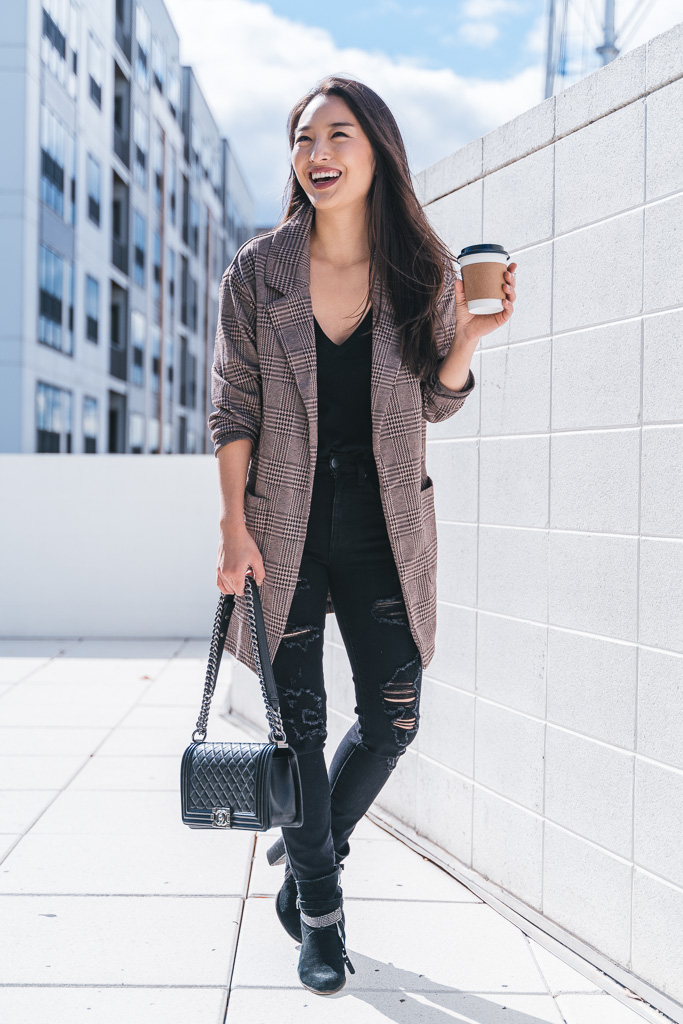 brown plaid blazer