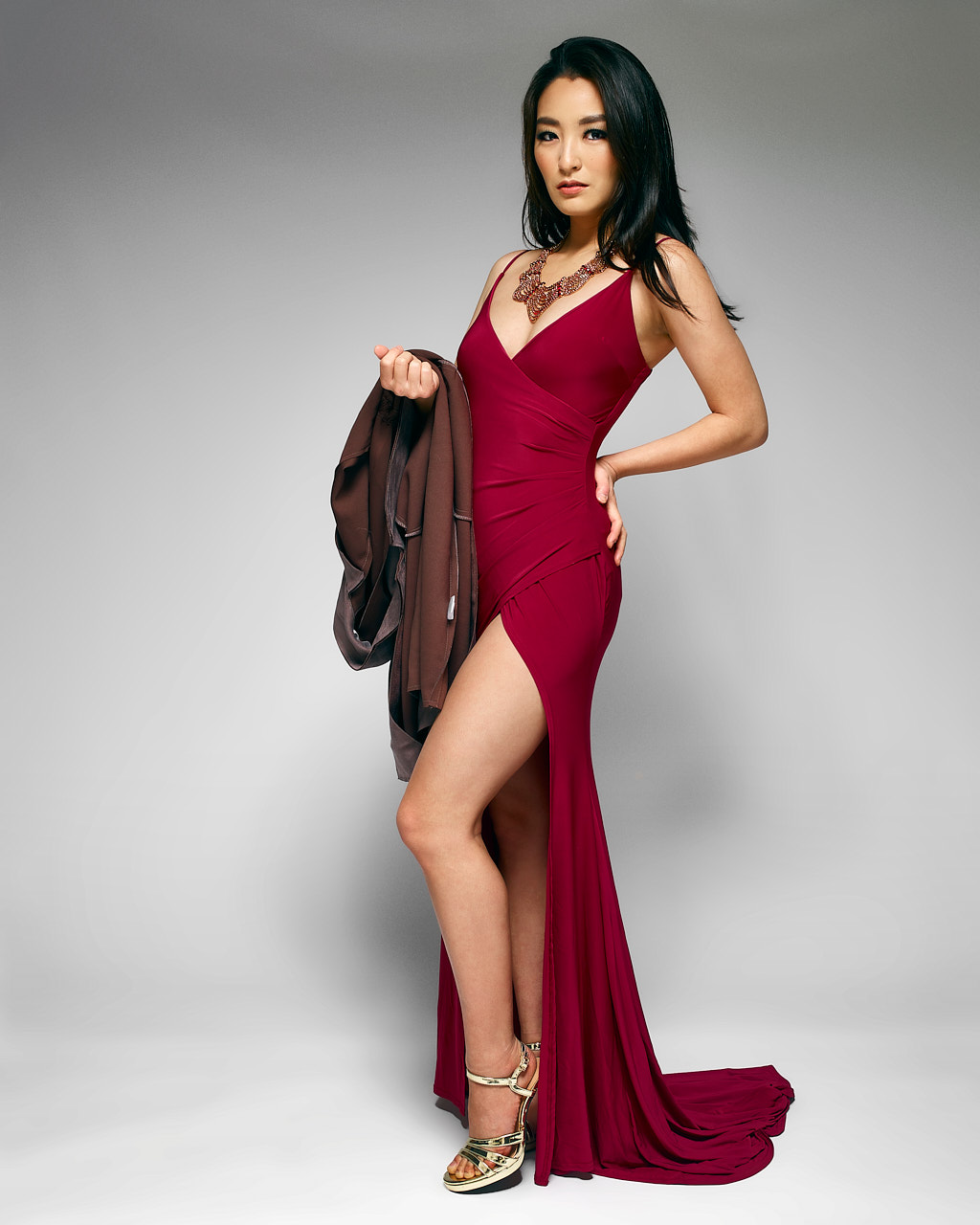 red gown with high slit