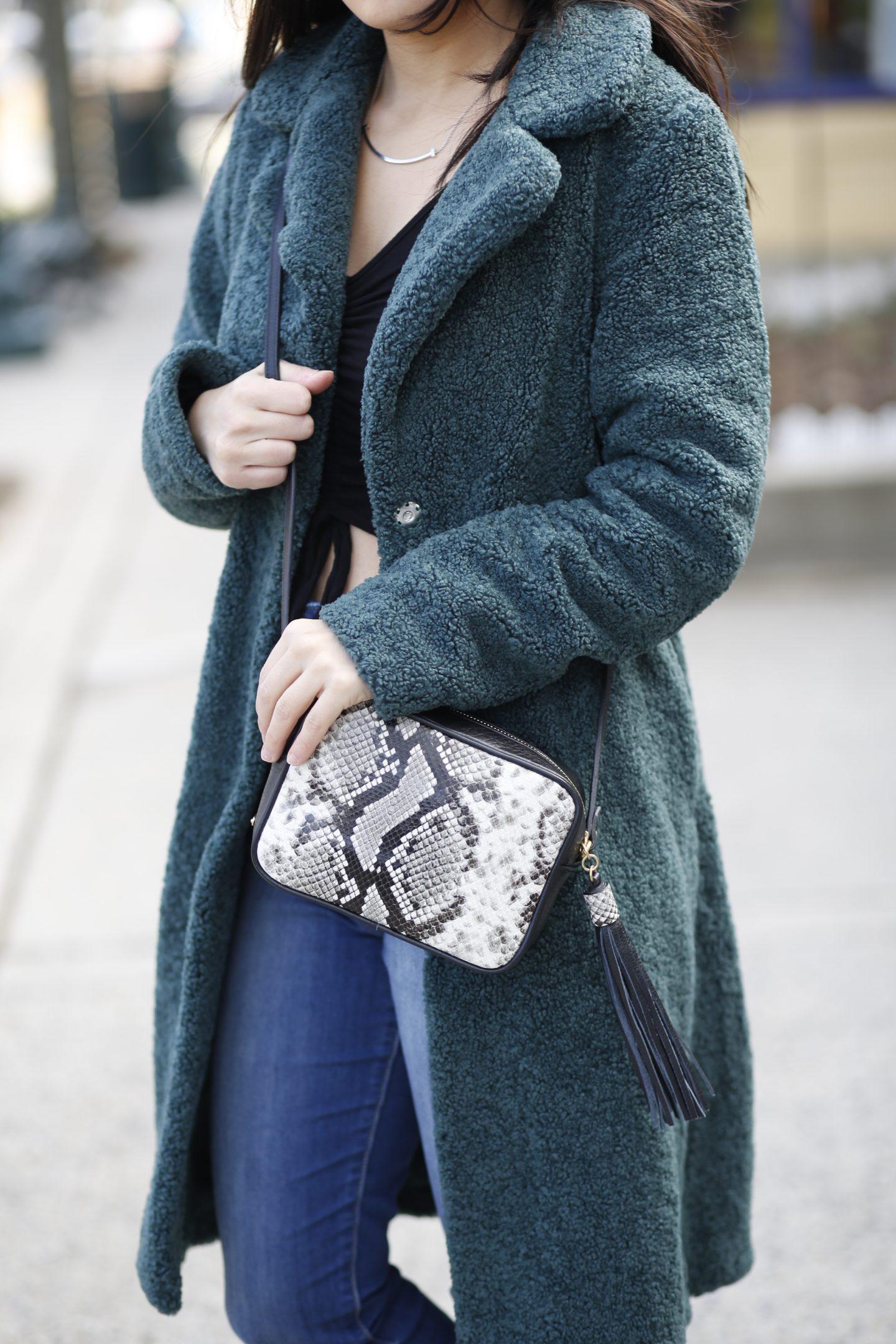 leather python crossbody bag