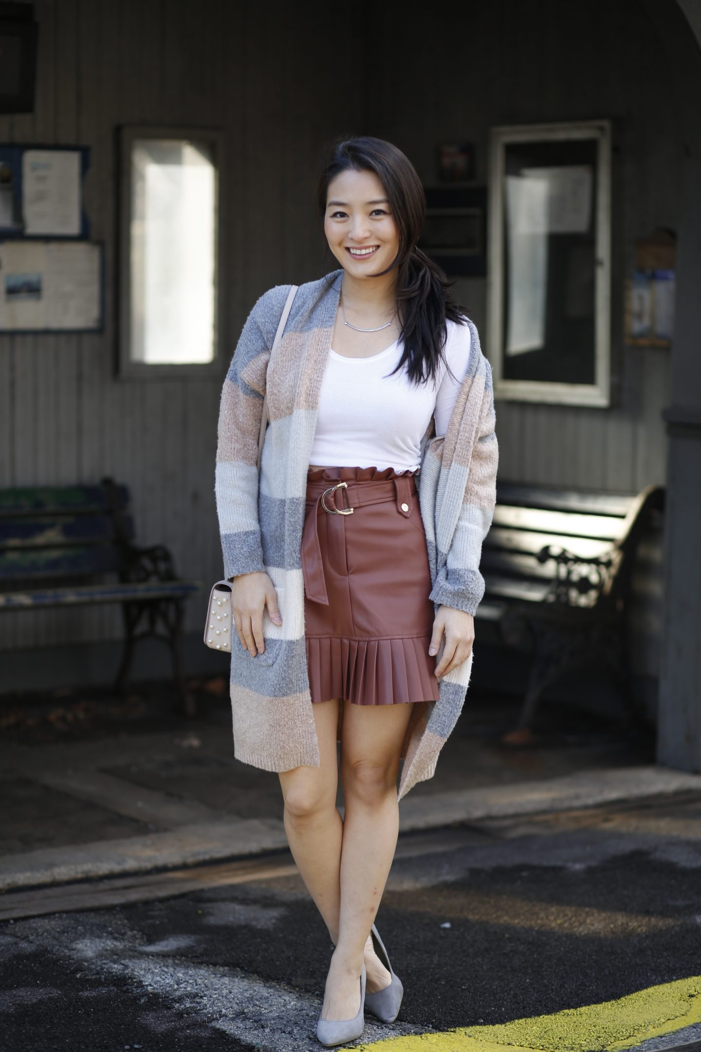 faux leather zara skirt