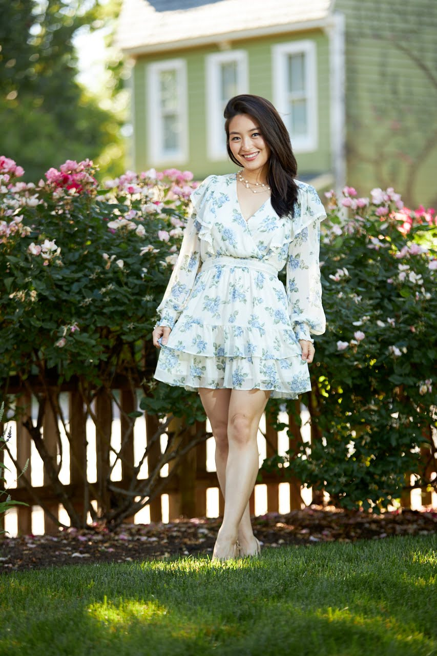 ivory floral mini dress