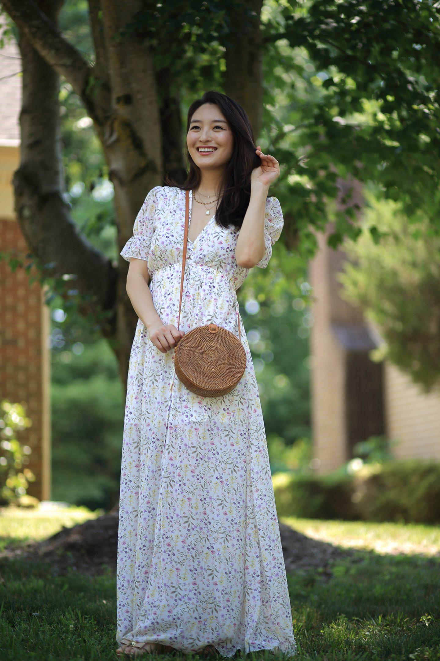 work of art floral maxi dress