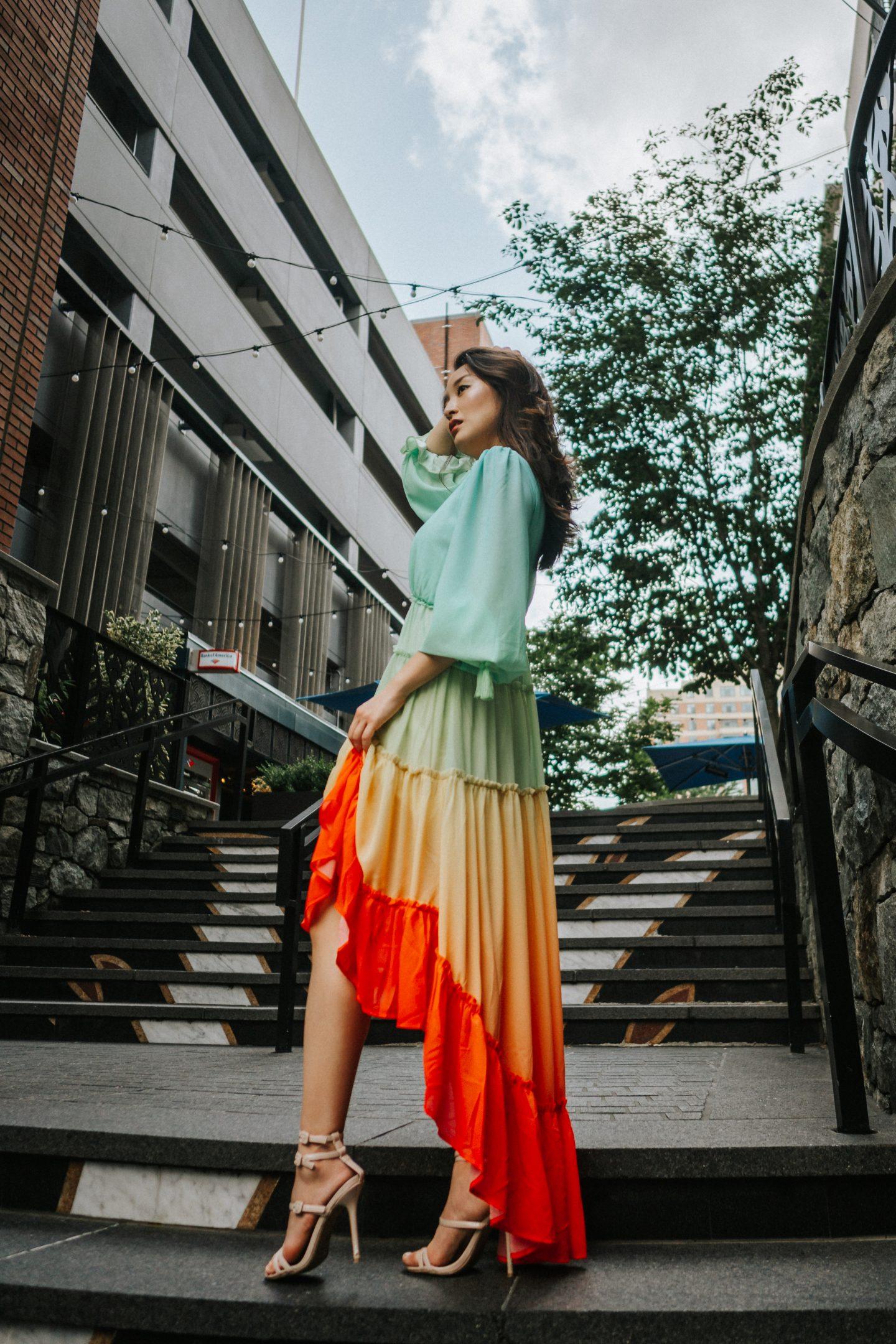 rainbow maxi dresses