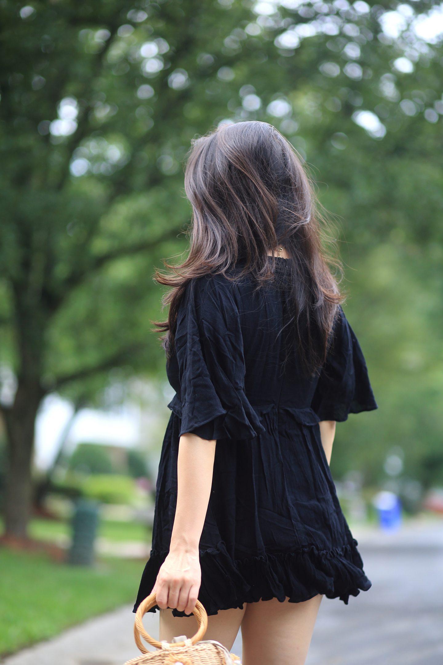 black romper dress