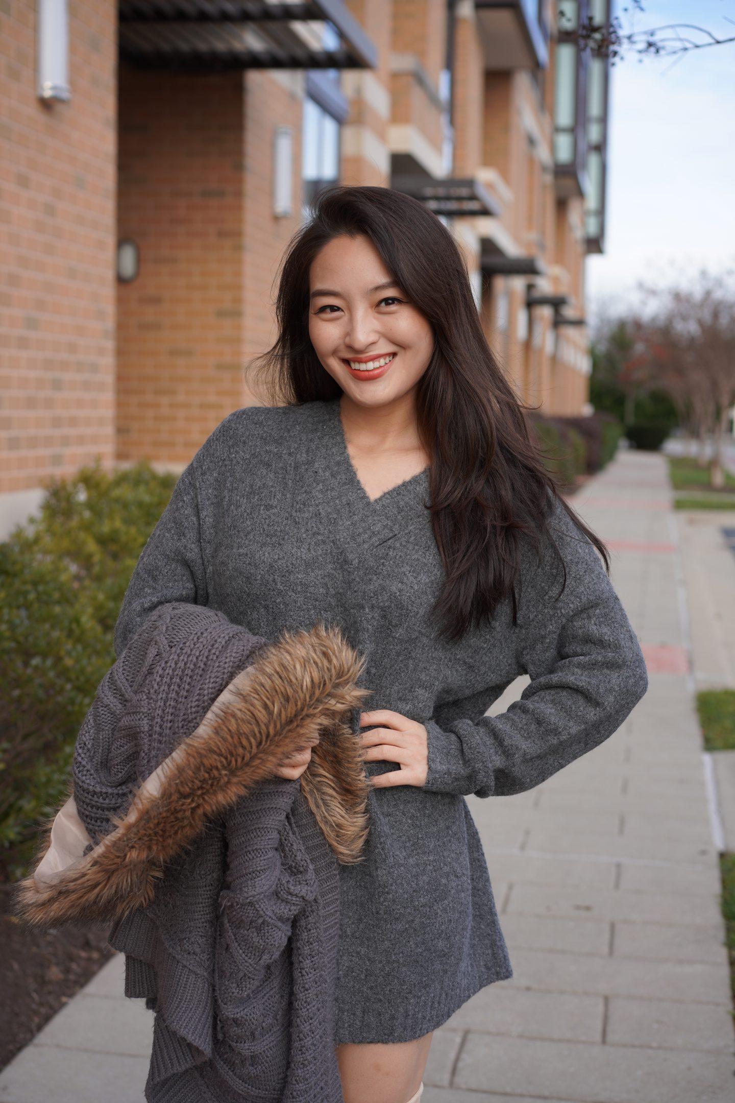 gray sweaterdress