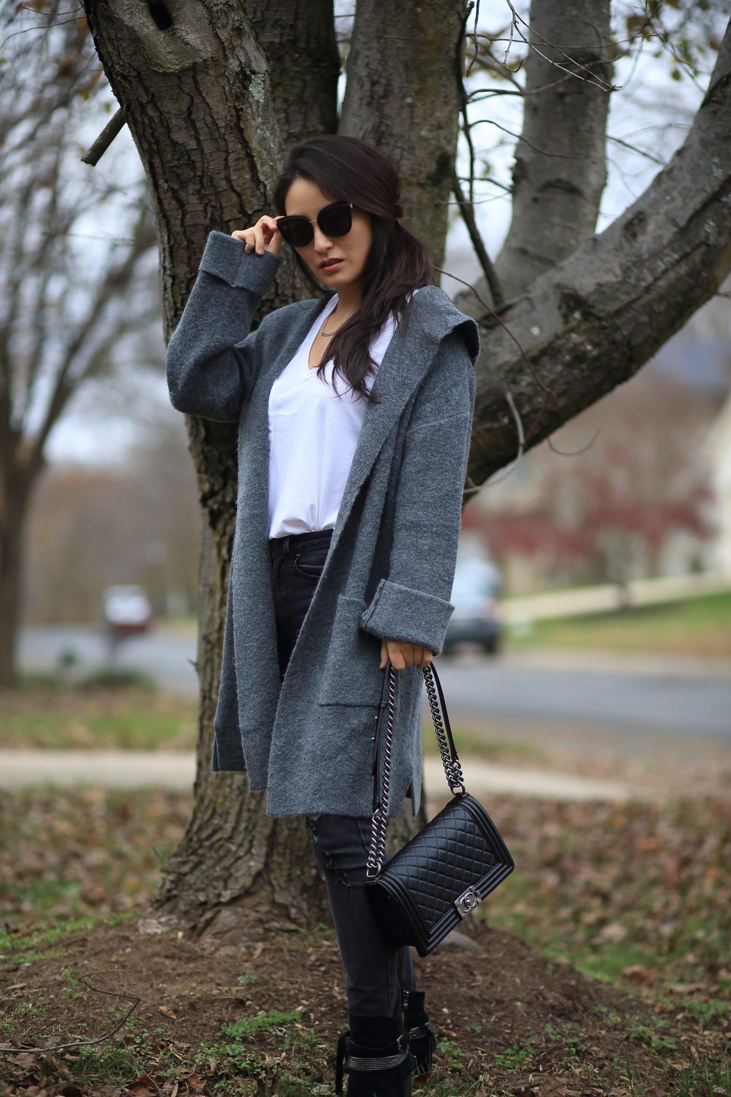 Hooded Grey Cardigan
