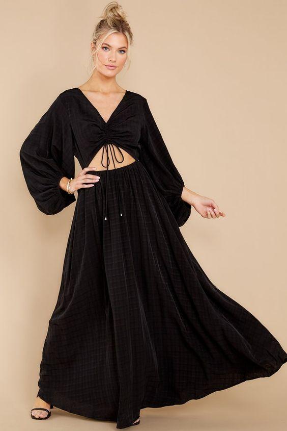 black maxi dress red dress boutique